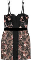 La Perla Hampton Court Paneled Embroidered Leavers Lace Chemise - Black