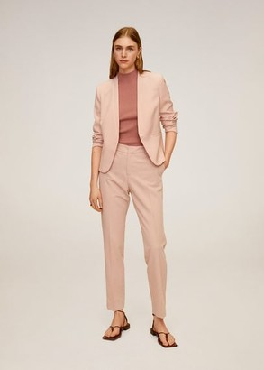MANGO Satin collar crepe blazer off white - XS - Women