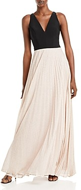 Aqua Colorblocked Pleated Gown - 100% Exclusive
