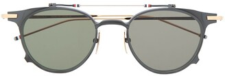 Thom Browne Round-Frame Flip-Up Sunglasses