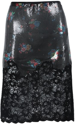 Paco Rabanne Chainmail And Lace Midi Skirt