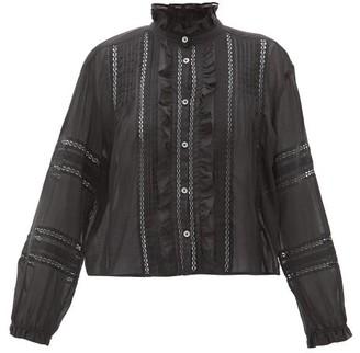 Etoile Isabel Marant Valda Ruffled Cotton-voile Blouse - Womens - Black