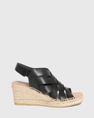 Wittner - Women's Black Sandals - Utari Leather Woven Strap Espadrille Wedges - Size One Size, 36 at The Iconic