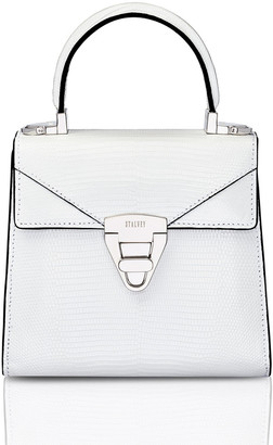 Stalvey Mini Trapezoid Crocodile Top Handle Bag, White