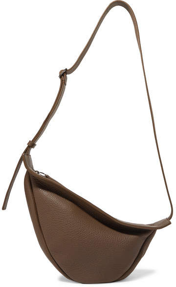 The Row Slouchy Banana Textured-leather Shoulder Bag - Army green