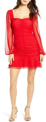 4SI3NNA the Label Annie Long Sleeve Ruched Dotted Mesh Minidress