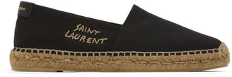 Saint Laurent Black Embroidered Logo Espadrilles