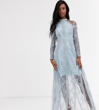 True Decadence Tall long sleeve contrast lace maxi dress in blue