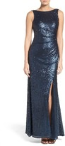 Adrianna Papell Women's Mesh A-Line Gown