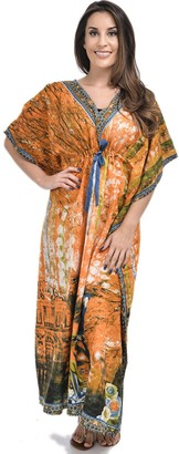 Nightingale Collection Womens Ladies Long Kaftans Parrots and Peacock Feathers Print On The Front and Back Waist Tie for Size 10 to 24 (One Size