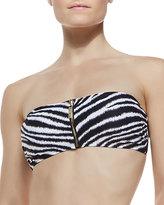 MICHAEL Michael Kors Zebra-Print Zip Bandeau Top