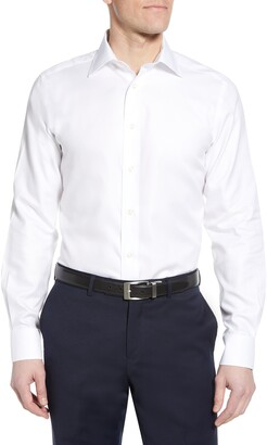 David Donahue Luxury Non-Iron Trim Fit Solid Dress Shirt