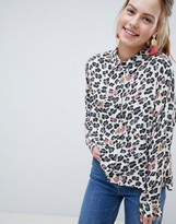 Asos Design DESIGN Cropped long sleeve shirt In Jewelled leopard Print