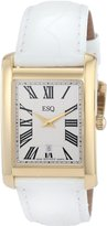 ESQ by Movado Women's 07101382 Filmore Gold-Plated White Crocodile Strap Watch