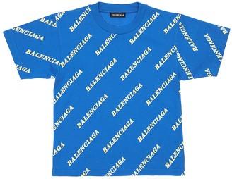 Balenciaga Allover Logo Print Cotton Jersey T-Shirt