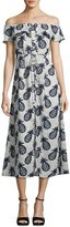 Lucca Couture Off-The-Shoulder Pineapple Midi Dress, Multi