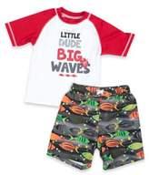 "iXtreme Boys 2-Piece ""Little Dude Big Waves"" Rashguard and Swim Trunk Set in White/Grey"