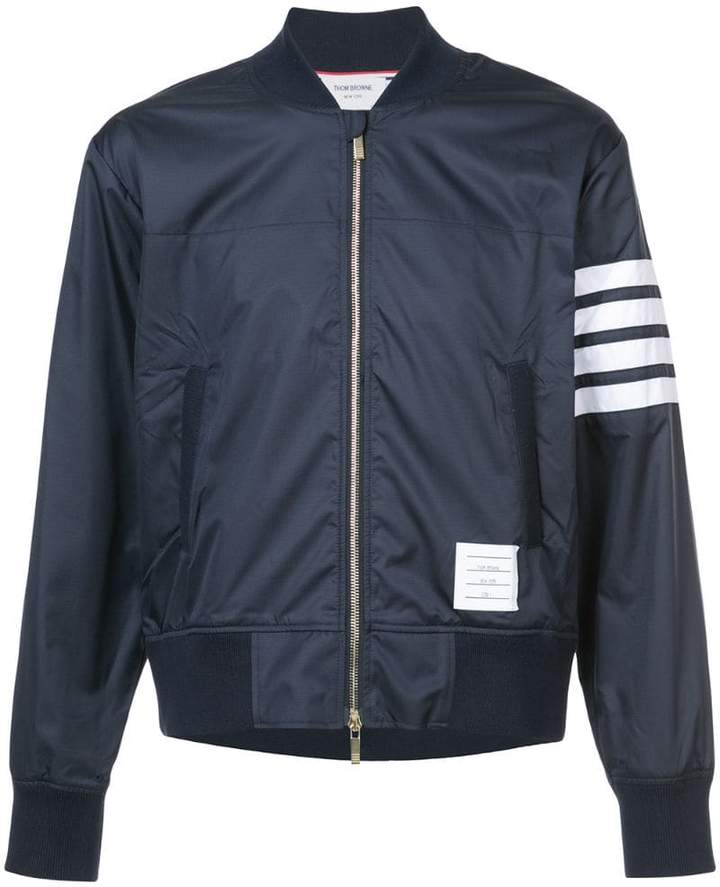 Thom Browne Seamed 4-Bar Stripe Ripstop Bomber