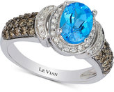 LeVian Le Vian Chocolatier® Blue Topaz (1-1/3 ct. t.w.) and Diamond (5/8 ct. t.w.) Ring in 14k White Gold