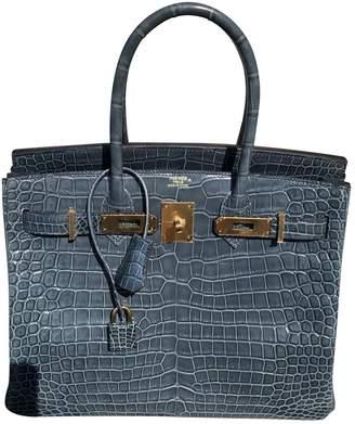Hermes Birkin 30 Blue Crocodile Handbags
