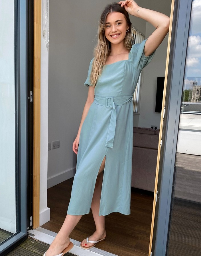 New Look square neck belted midi dress in sage