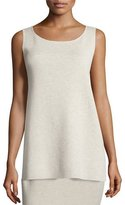 Eileen Fisher Washable Wool Crepe Long Tank, Sea Salt