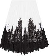 Oscar de la Renta Pleated Stretch-Knit And Lace Skirt