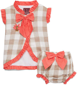 Lil Cactus Girls' Bloomers - Light Tan Gingham Embroidered Wrap Top & Bloomers - Infant & Toddler