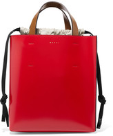 Marni Museo Color-block Leather Tote - Red