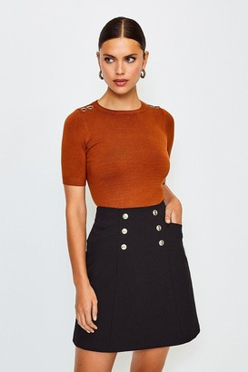 Karen Millen Military Button Mini Skirt