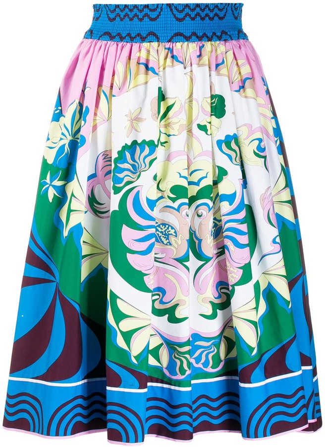 Emilio Pucci Printed Elasticated Waist Skirt