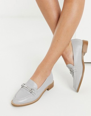 ASOS DESIGN Mabel snaffle loafers in grey