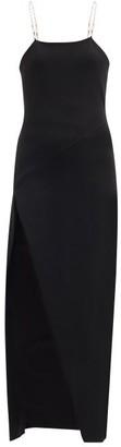 ATTICO Crossover Chain-strap Crepe Dress - Black
