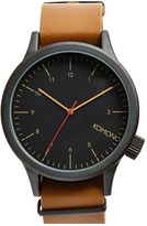 Komono Men's 'Magnus' Oversized Round Dial Leather Strap Watch, 57Mm