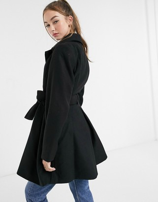 ASOS DESIGN belted glam skater coat in black