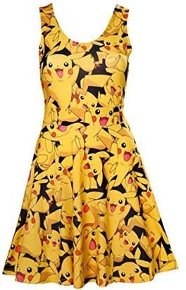 Pokemon Meroncourt Women's Woman's All-Over Pikachu Printed Sleeveless Dress,Multi-Colour12 (Size:)