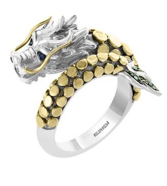 Effy 18K Gold, Black Diamond & Blue Sapphire Dragon Ring