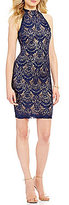 B. Darlin Mock Neck Sequin Lace Open-Back Sheath Dress