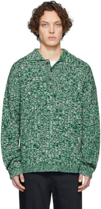 Joseph Green Rib Knit Long Sleeve Polo