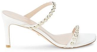 Stuart Weitzman Aleena Leather & Faux Pearl Embellished Heeled Sandals