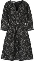 Oscar de la Renta Metallic Fil Coupé Silk-blend Dress - Black
