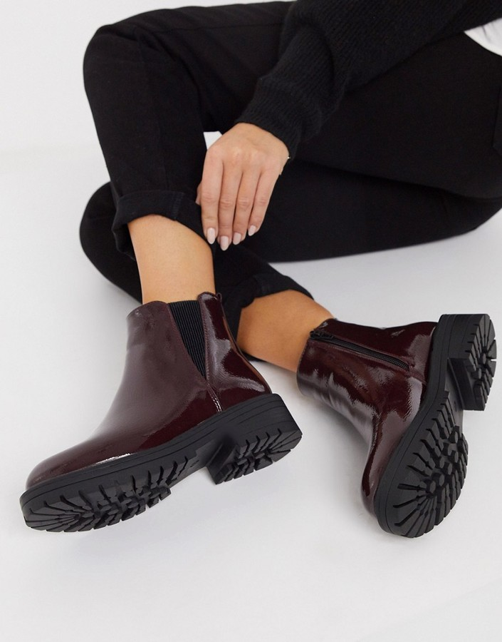 New Look patent worker chelsea boots in burgundy