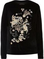 River Island Womens Black embroidered velvet sweatshirt