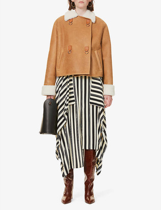 Loewe Cropped contrast-collar suede leather jacket