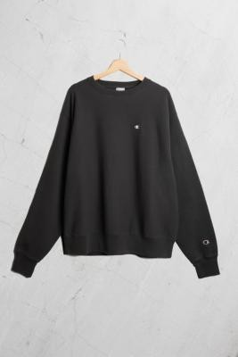 Champion UO Exclusive Small C Washed Black Crew Neck Sweatshirt - Black L at Urban Outfitters