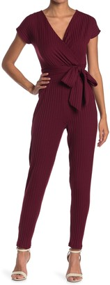 Velvet Torch Ribbed Short Sleeve Wrap Jumpsuit