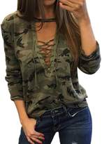 XWDA Women's Camouflage Lace Up Front Blouse Tops (XL, )