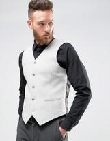 Asos Skinny Waistcoat In Light Grey Wool Mix