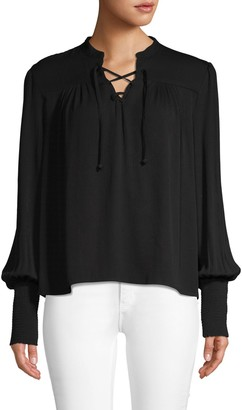 Frame Lace-Up Long-Sleeve Top