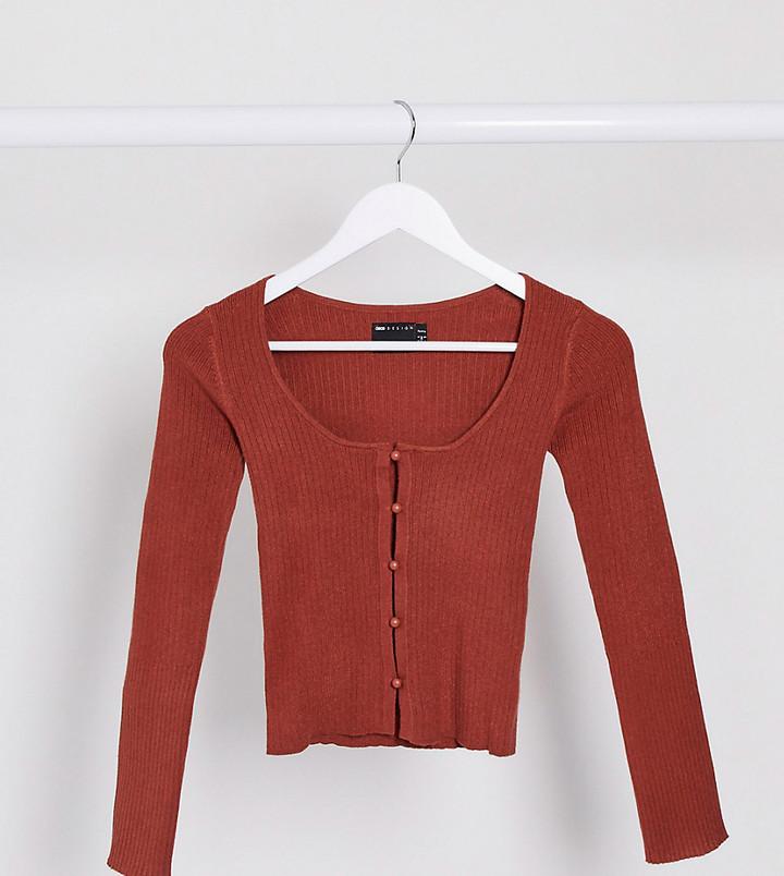 ASOS DESIGN Petite ribbed knit button through cardi top